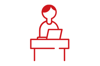 student at a computer icon