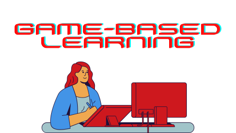 Illustration of a woman at a computer with the text: Game-based learning