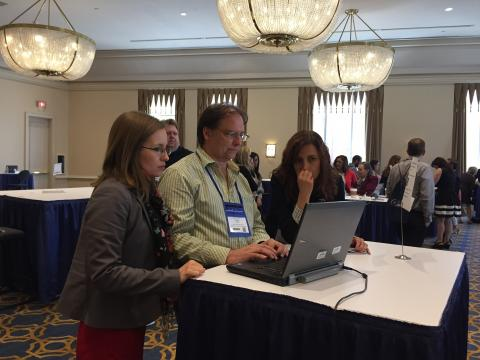 Office of Distance Learning Interim Director Claire Arabie and Instructional Designer Carey Hamburg present during a past OLC conference.