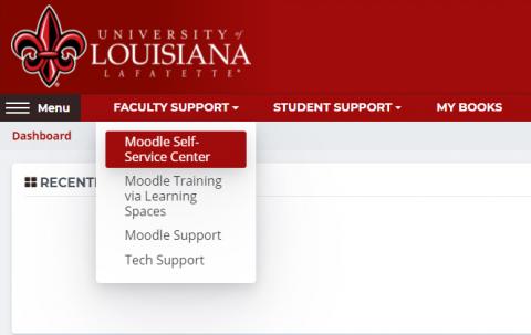 Screenshot of the Moodle menu navigation