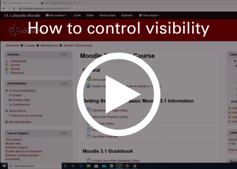 Video thumbnail: Controling visibility of items in Moodle.