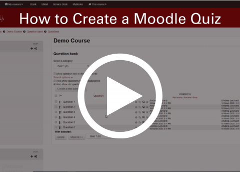 Video thumbnail: How to create a Moodle quiz.