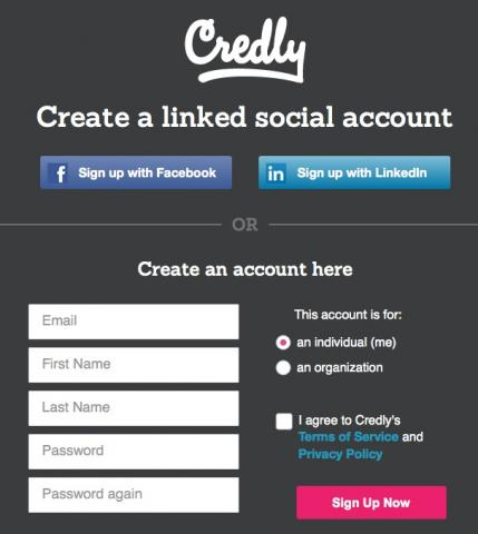 image of Credly account creation form
